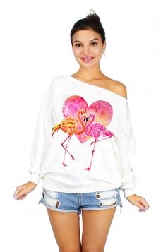 Women One Shoulder Flamingo Printed Lined Sweatshirt Rose Red