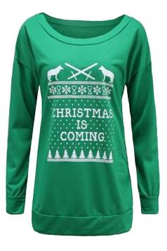 Women Crew Neck Letter Printed Christmas Sweatshirt Green