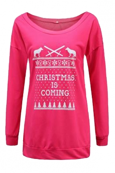 Women Crew Neck Letter Printed Christmas Sweatshirt Rose Red