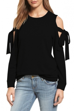 Cold Shoulder Bow-Tie Long Sleeve Crew Neck Plain Sweatshirt Black