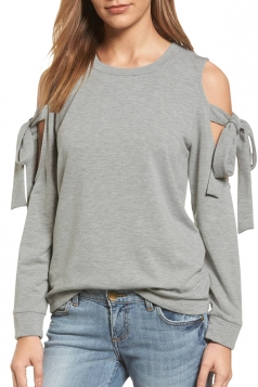 Cold Shoulder Bow-Tie Long Sleeve Crew Neck Plain Sweatshirt Gray