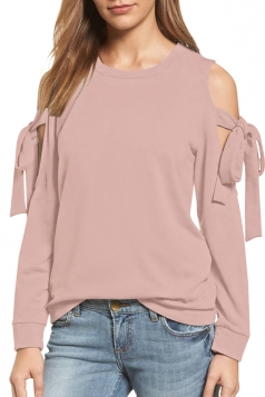 Cold Shoulder Bow-Tie Long Sleeve Crew Neck Plain Sweatshirt Pink