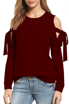 Cold Shoulder Bow-Tie Long Sleeve Crew Neck Plain Sweatshirt Ruby