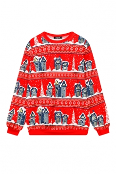 Womens Crew Neck Little Houses Printed Christmas Sweatshirt Red