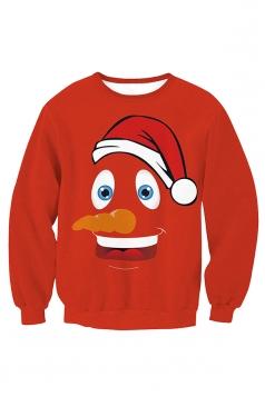 Womens Crew Neck Pullover Snowman Printed Christmas Sweatshirt Red