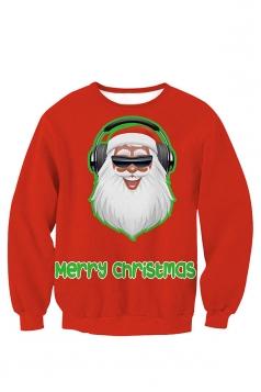 Womens Crew Neck Pullover Santa Printed Christmas Sweatshirt Red