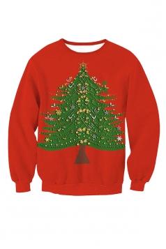 Womens Crew Neck Christmas Tree Printed Christmas Sweatshirt Red