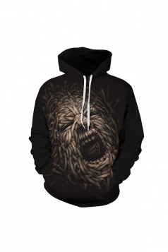 Womens Halloween Arms Printed Draw String Hoodie Black
