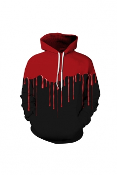 Womens Halloween Simulative Blood Printed Draw String Hoodie Red