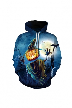 Womens Halloween Scarecrow Pumpkin Printed Draw String Hoodie Navy Blue