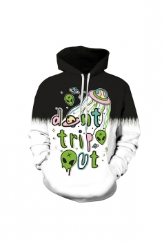 Womens Halloween Don't Trip Out Draw String Hoodie Black And White