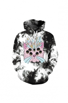 Womens Halloween Anti Social Cat Printed Draw String Hoodie Gray