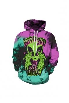 Womens Halloween Don't Be Sad Alien Printed Draw String Hoodie Purple