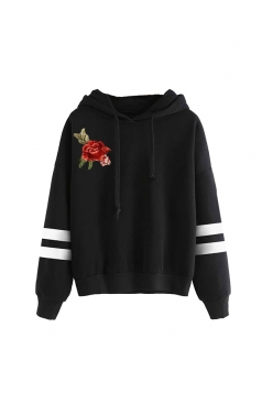 Womens Draw String Flower Embroidered Hoodie Black