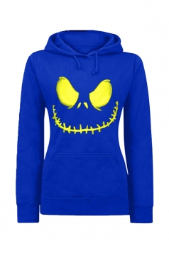 Womens Active Halloween Skull Printed Pullover Hoodie Blue
