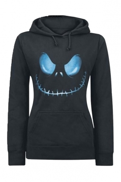 Womens Active Halloween Skull Printed Pullover Hoodie Black