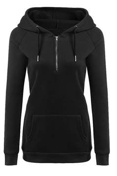 Womens Lined Zip Up Drawstring Hoodie With Kangaroo Pocket Black