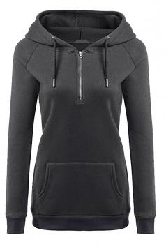 Womens Lined Zip Up Drawstring Hoodie With Kangaroo Pocket Gray