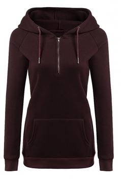Womens Lined Zip Up Drawstring Hoodie With Kangaroo Pocket Ruby