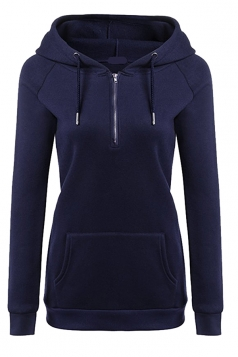 Womens Lined Zip Up Drawstring Hoodie With Kangaroo Pocket Navy Blue