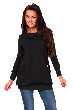 Womens Oversized Lined Crew Neck Long Sleeve Sweatshirt Black