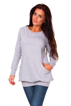 Womens Oversized Lined Crew Neck Long Sleeve Sweatshirt Gray