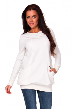 Womens Oversized Lined Crew Neck Long Sleeve Sweatshirt White