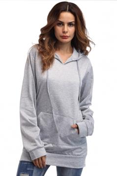 Womens Plain Oversized Drawstring Hoodie With Kangaroo Pocket Gray