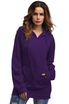Womens Plain Oversized Drawstring Hoodie With Kangaroo Pocket Purple