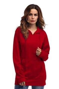 Womens Plain Oversized Drawstring Hoodie With Kangaroo Pocket Red