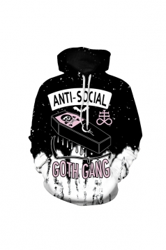 Womens Halloween Anti-Social Goth Gang Draw String Hoodie Black