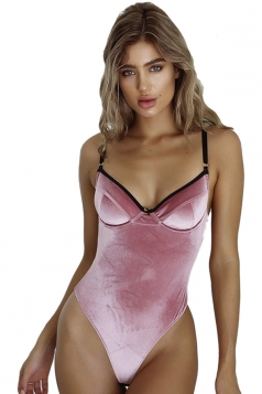 Women Sexy Low Cut Adjustable Strap Backless Velvet Bodysuit Pink