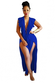 Sexy Deep V Lace Up Backless Ruffle High Splits Jumpsuit Sapphire Blue