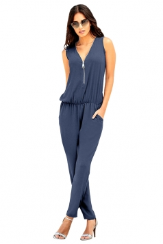 Deep V Elastic Waist Zipper Sleeveless Jumpsuit Blue