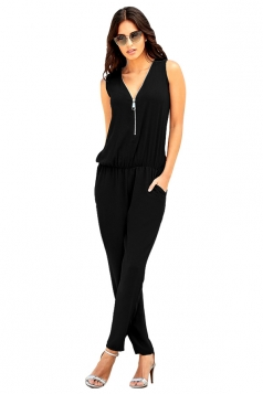 Deep V Elastic Waist Zipper Sleeveless Jumpsuit Black