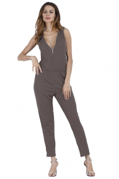 Deep V Elastic Waist Zipper Sleeveless Jumpsuit Brown