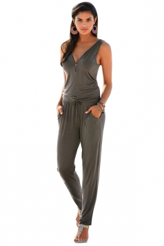Deep V Elastic Waist Zipper Sleeveless Jumpsuit Green