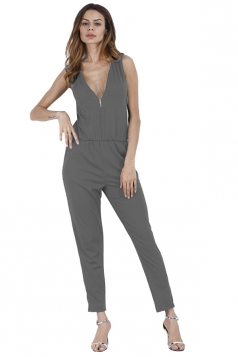 Deep V Elastic Waist Zipper Sleeveless Jumpsuit Gray