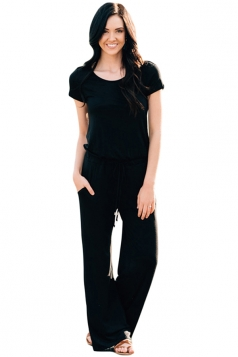 Black Short Sleeve Drawstring Casual Jumpsuit Black