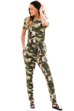 Camouflage Short Sleeve Drawstring Casual Jumpsuit Light Green