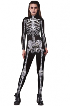 Women Halloween Costumes Skull Printed Jumpsuit Black And White