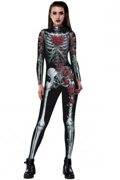Women Halloween Costumes Skull Printed Jumpsuit Ruby
