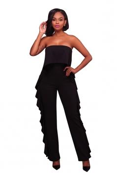 Women Sexy Strapless High Waist Ruffle Jumpsuit Black