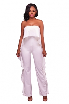 Women Sexy Strapless High Waist Ruffle Jumpsuit White