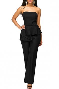 Sexy Strapless Wide Legs Ruffled Waist Jumpsuit Black