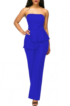 Sexy Strapless Wide Legs Ruffled Waist Jumpsuit Sapphire Blue