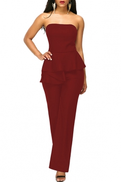 Sexy Strapless Wide Legs Ruffled Waist Jumpsuit Ruby