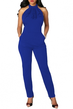 Women Sexy Ruffled Neck Halter Backless Jumpsuit Sapphire Blue