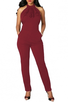Women Sexy Ruffled Neck Halter Backless Jumpsuit Ruby