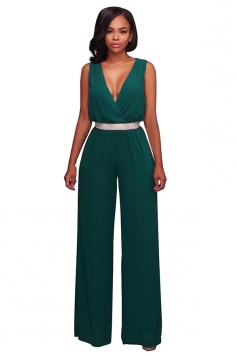 Women Sexy Deep V High Waist Sleeveless Wide Legs Jumpsuit Dark Green